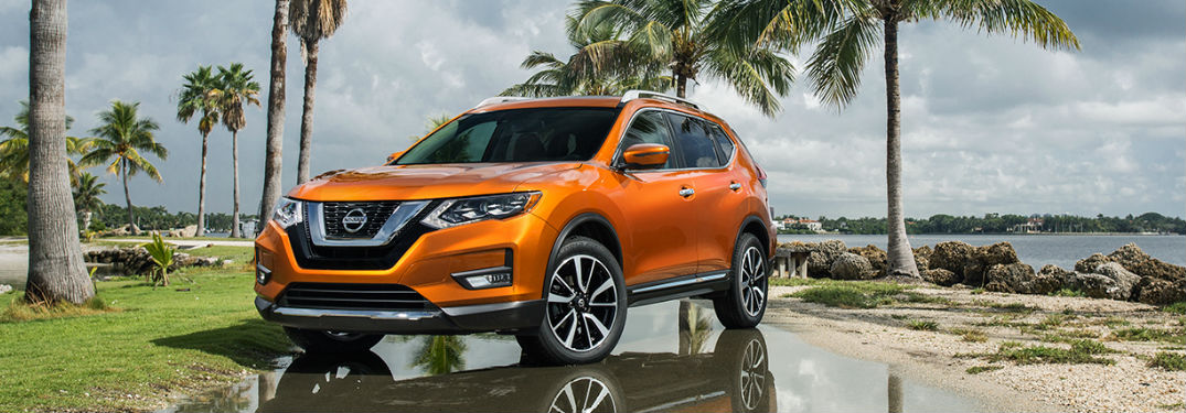 2018 Nissan Rogue parked by palm trees