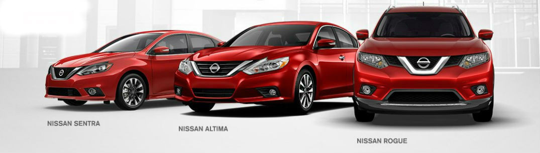 Nissan Rogue, Sentra and Altima side-by-side