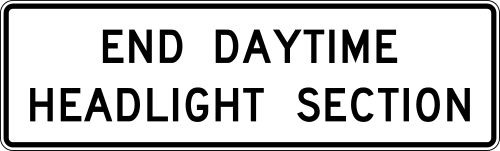 daytime headlight section sign - headlights and road safety