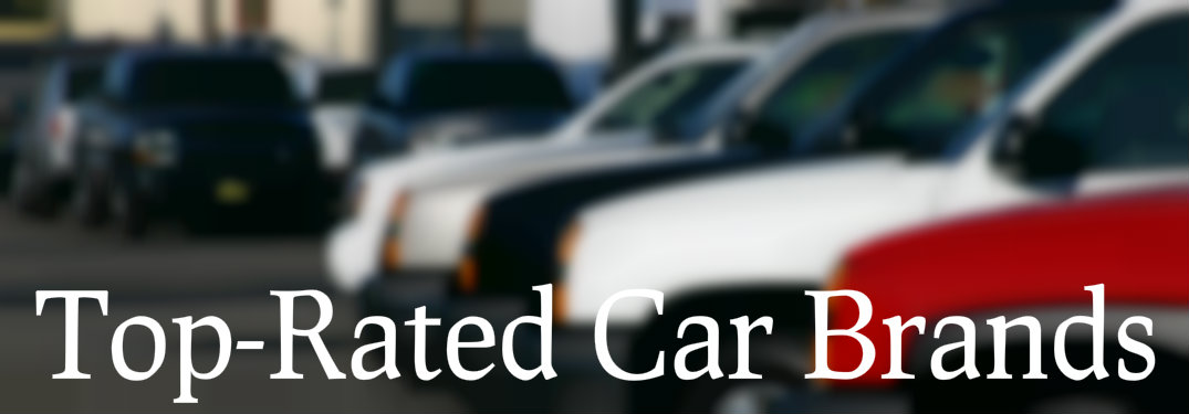 Line of used cars with text saying top-rated car brands