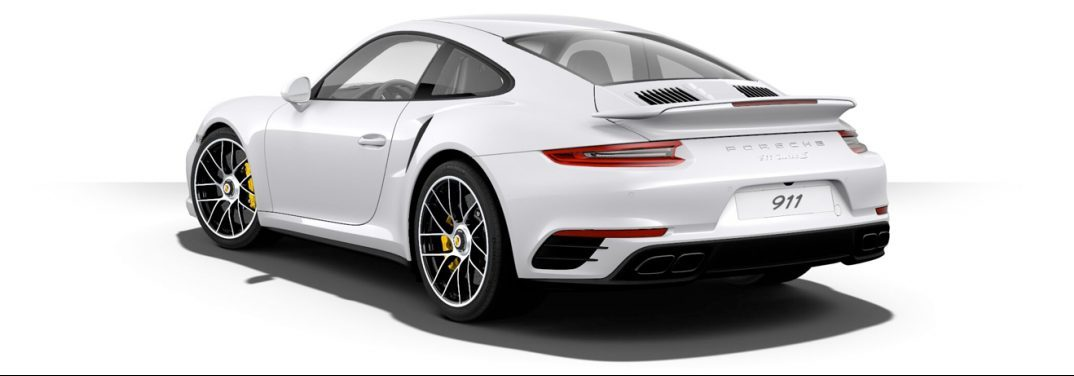 angled view of the rear of the 2018 porsche 911 turbo on a white background