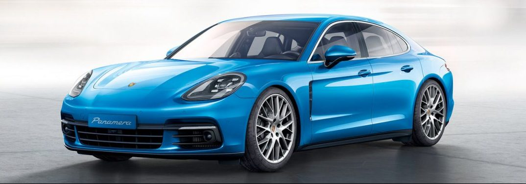 full view of the 2018 Porsche Panamera in blue
