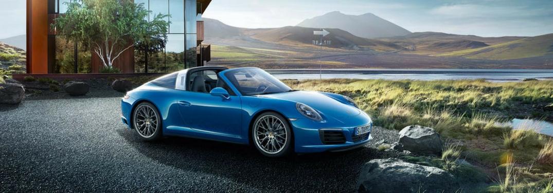 2018 Porsche 911 targa 4 parked by a mountain
