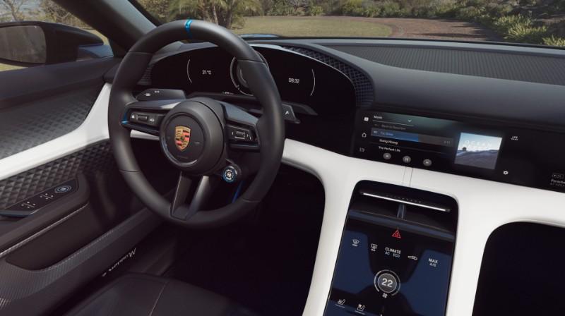 view of driver seat inside the Porsche Mission E Cross Turismo Concept