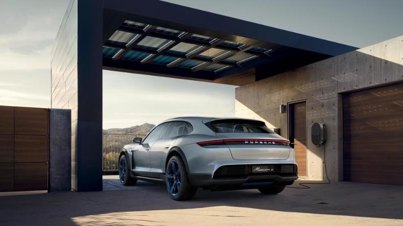 rear view of the Porsche Mission E Cross Turismo Concept charging