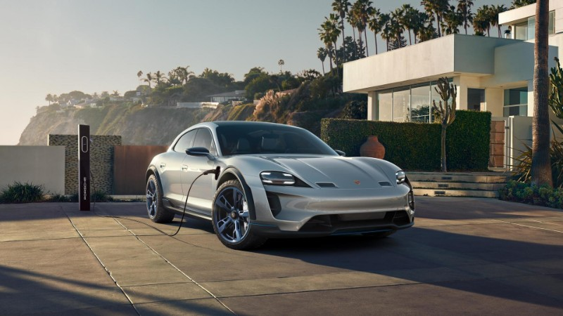 Porsche Mission E Cross Turismo Concept plugged in and charging
