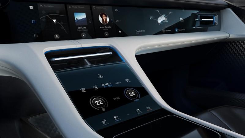 interior front infotainment and controls in the Porsche Mission E Cross Turismo Concept
