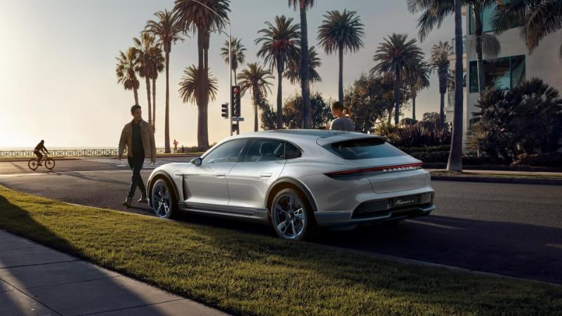 exterior rear of the Porsche Mission E Cross Turismo Concept