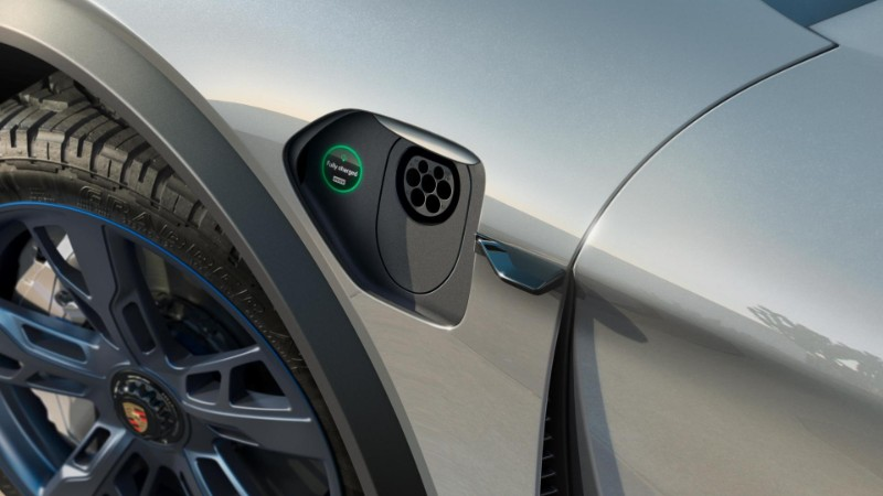 charging port of the Porsche Mission E Cross Turismo Concept