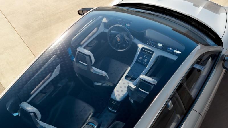 overhead view through moonroof of Porsche Mission E Cross Turismo Concept