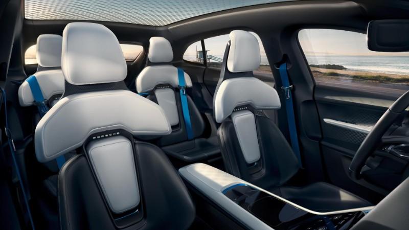 interior seating inside the Porsche Mission E Cross Turismo Concept