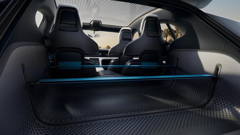 rear cargo space inside the Porsche Mission E Cross Turismo Concept