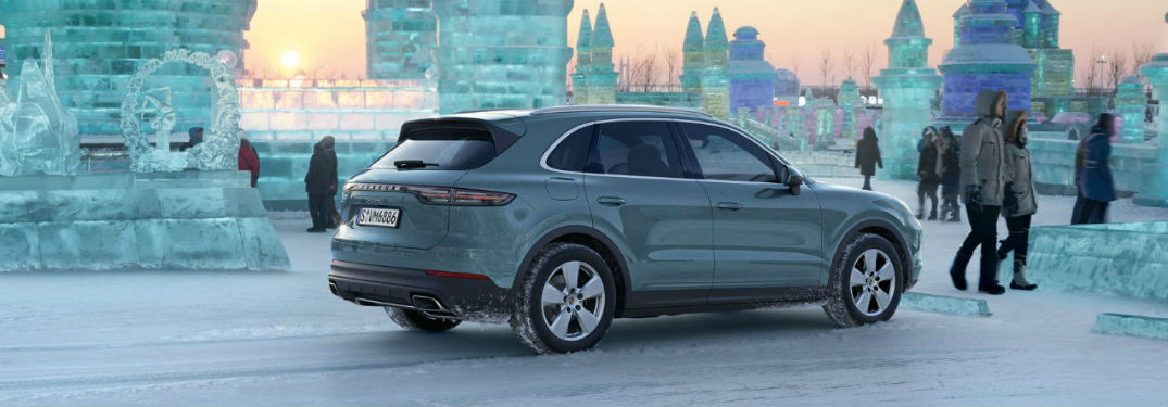2019 Porsche Cayenne back fascia and passenger side at ice castles