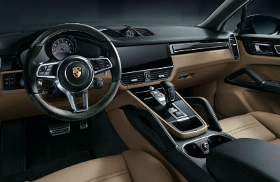 2019 Porsche Cayenne interior front cabin steering wheel and dashboard
