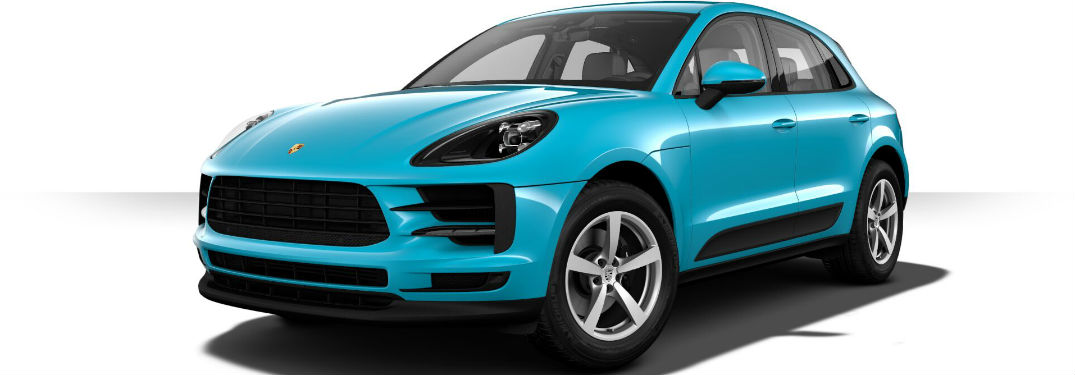 2019 Porsche Macan exterior front fascia and drivers side on white background