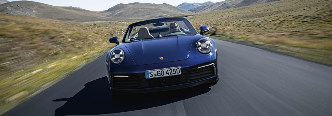 2020 Porsche 911 Carrera exterior front fascia going fast on country road