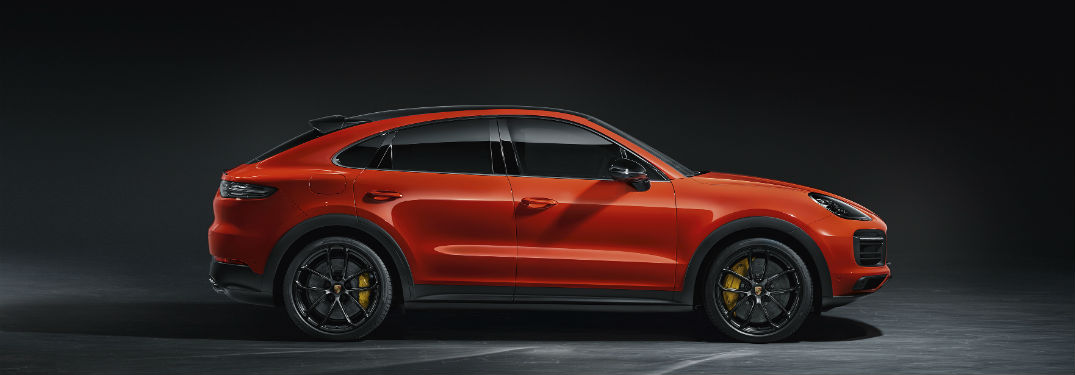 2020 Porsche Cayenne Coupe exterior passenger side profile with dramatic lighting