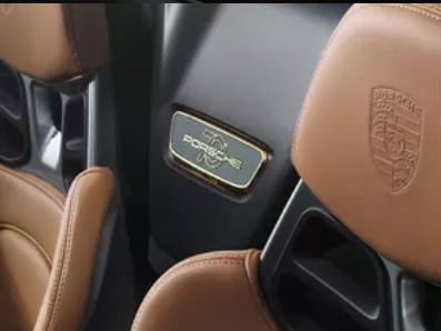 2019 Porsche 911 Heritage Design Package close up of headrests and porsche lettering