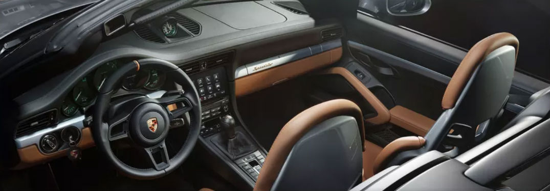 2019 Porsche 911 with Heritage Design Package interior steering wheel dashboard and headrests