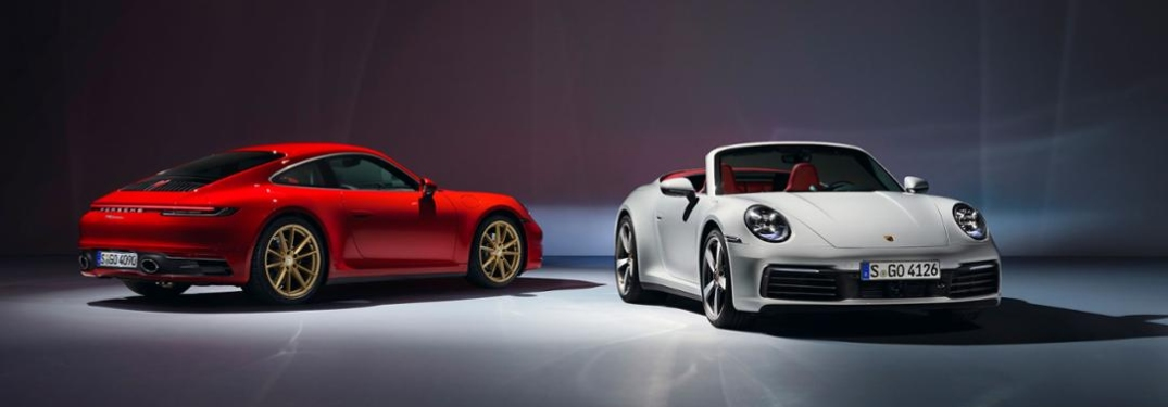 Red and White Porsche 911 Carrera Coupe and Cabriolet