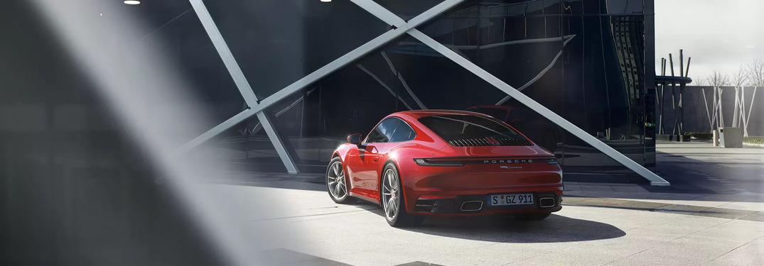 2019 Red Porsche 911 parked from exterior back driver side view