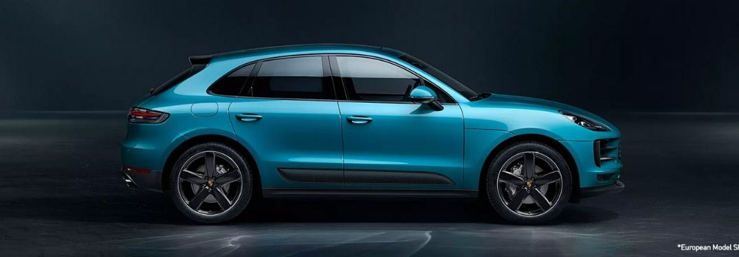 Blue 2020 Porsche Macan from exterior passenger side