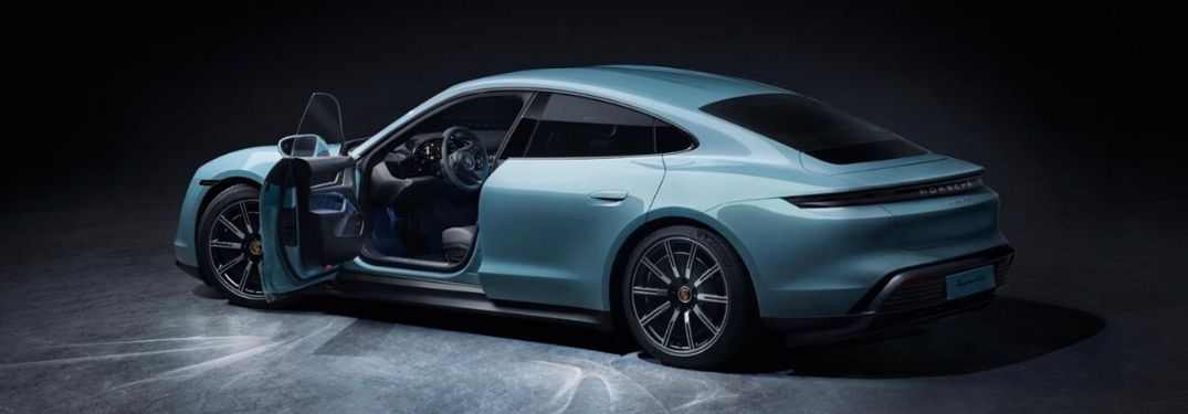 2020 Porsche Taycan with driver door wide open