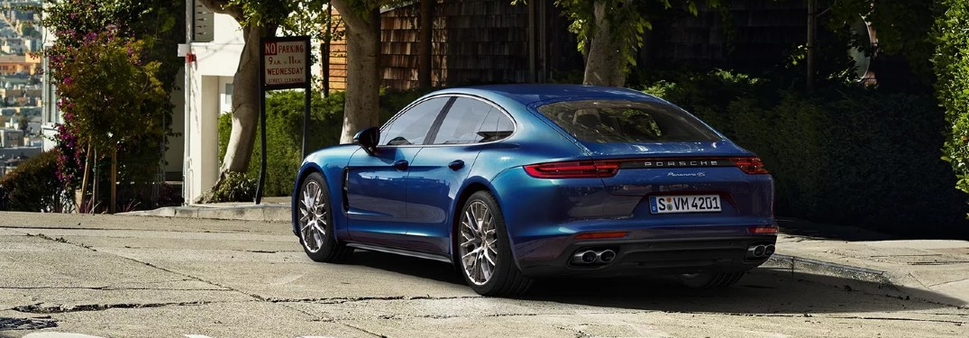 2020 Porsche Panamera on road from exterior rear