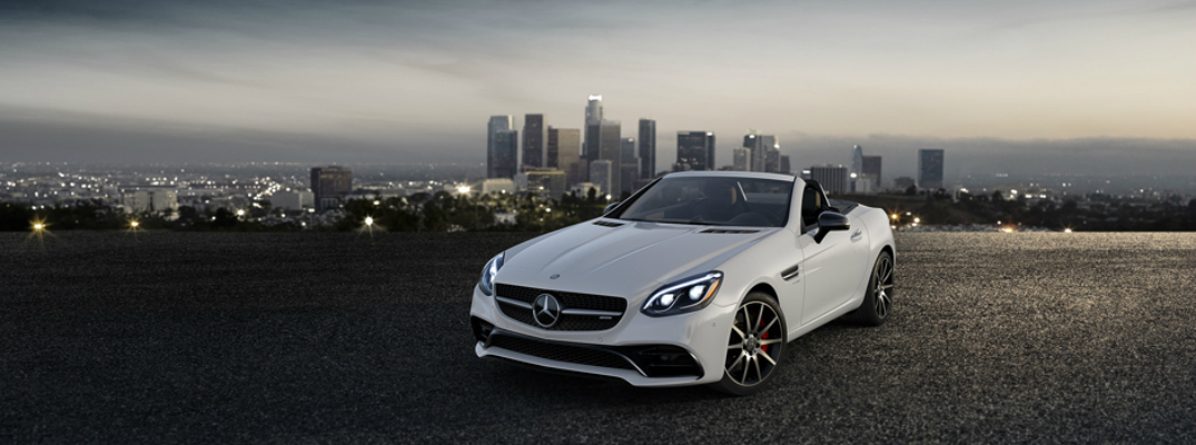 What are the differences between the 2017 Mercedes-Benz SLC 300 and AMG SLC 43? Exterior White