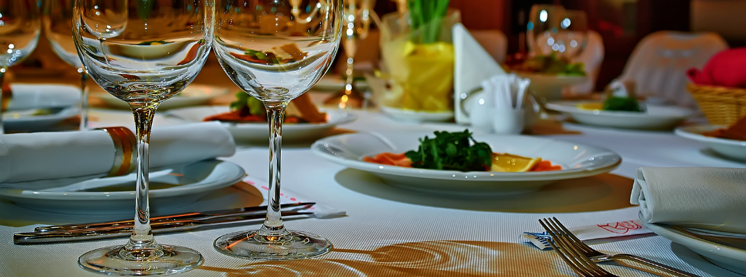 Romantic Dinner Setting with Wine Glasses