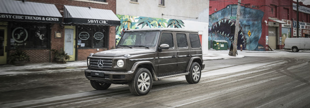2019 Mercedes-Benz G-Class exterior front fascia and drivers side on snowy city road