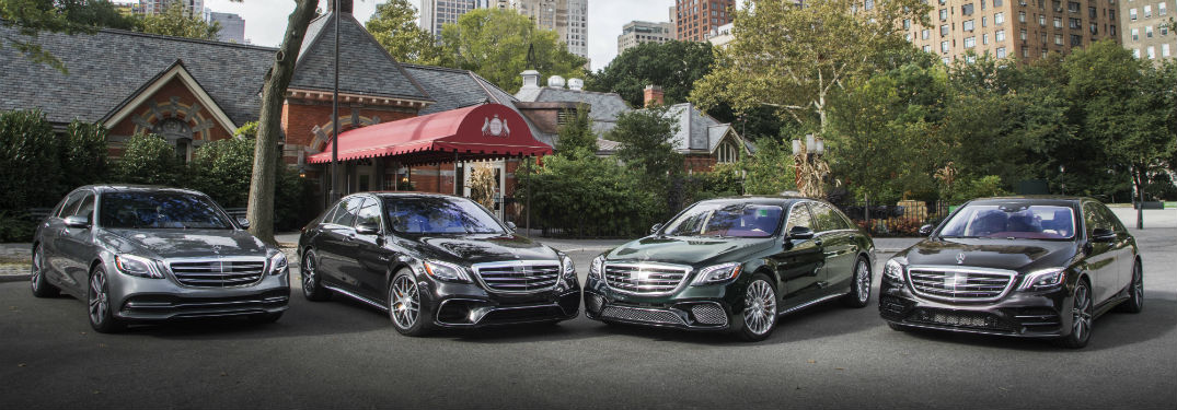 4 2018 Mercedes-Benz S-Class exterior front fascias parked in row with middle to angled together
