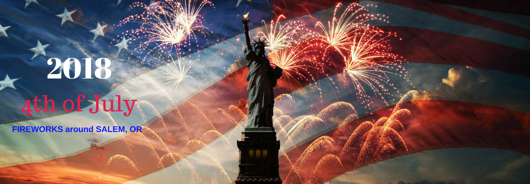 2018 4th of July fireworks around Salem, OR, test on an image of the Statue of Liberty superimposed onto the American Flag with fireworks going off