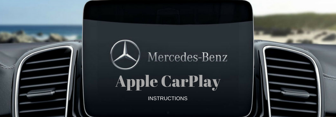 Mercedes-Benz Apple CarPlay instructions, text on image of the touchscreen display in the 2018 Mercedes-Benz GLS SUV