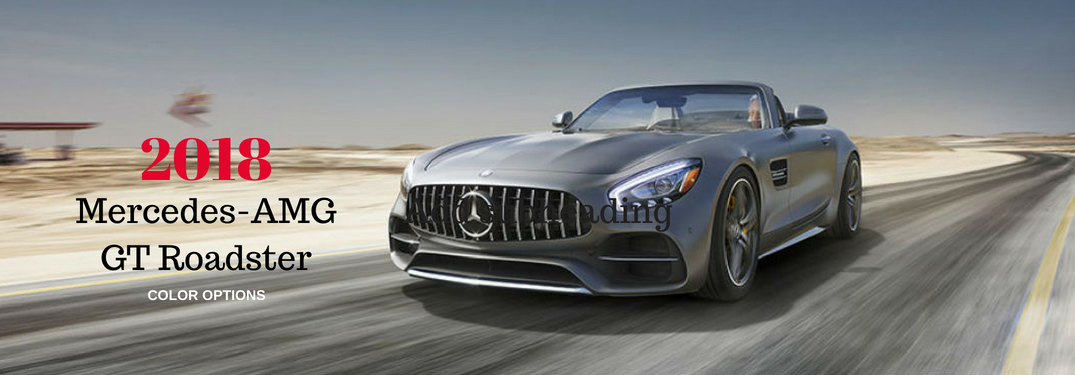 2018 Mercedes-AMG-GT Roadster Color Options, text on an image of an exterior view of a grey 2018 Mercedes-AMG GT Roadster