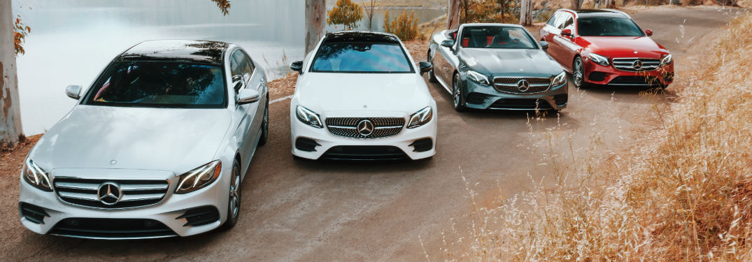 2019 E-Class sedan, cabriolet, coupe, and wagon lined up next to each other