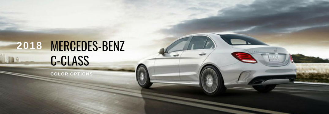 2018 Mercedes-Benz C-Class Color Options , text on a driver side exterior image of a white 2018 Mercedes-Benz C-Class