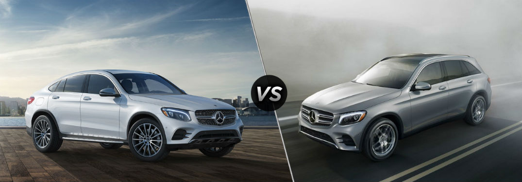"Passenger side exterior view of a gray 2019 Mercedes-Benz GLC Coupe on the left ""vs"" driver side exterior view of a gray 2019 Mercedes-Benz GLC SUV on the right"