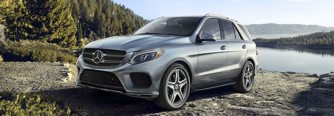 Front driver side exterior view of a gray 2019 Mercedes-Benz GLE SUV