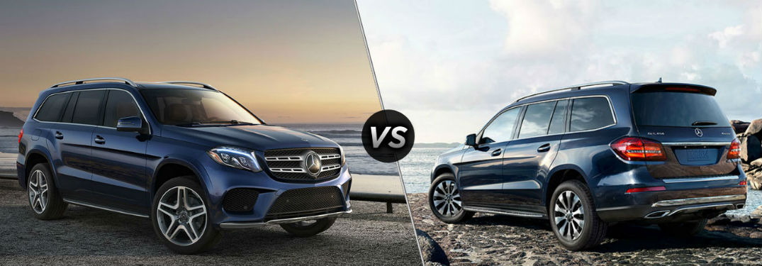 "Front passenger side exterior view of a blue 2019 Mercedes-Benz GLS 450 SUV on the left ""vs"" rear driver side exterior view of a blue 2019 Mercedes-Benz GLS 550 SUV on the right"