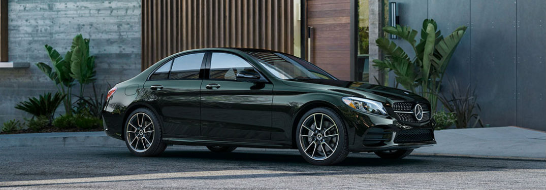 Passenger side exterior view of a black 2019 Mercedes-Benz C-Class Sedan