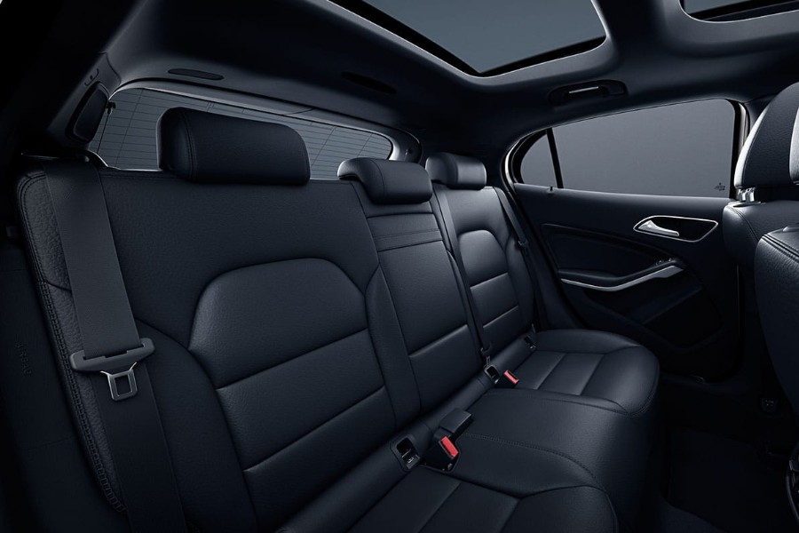 Passenger angle of the black rear seats in the 2019 Mercedes-Benz GLA 250