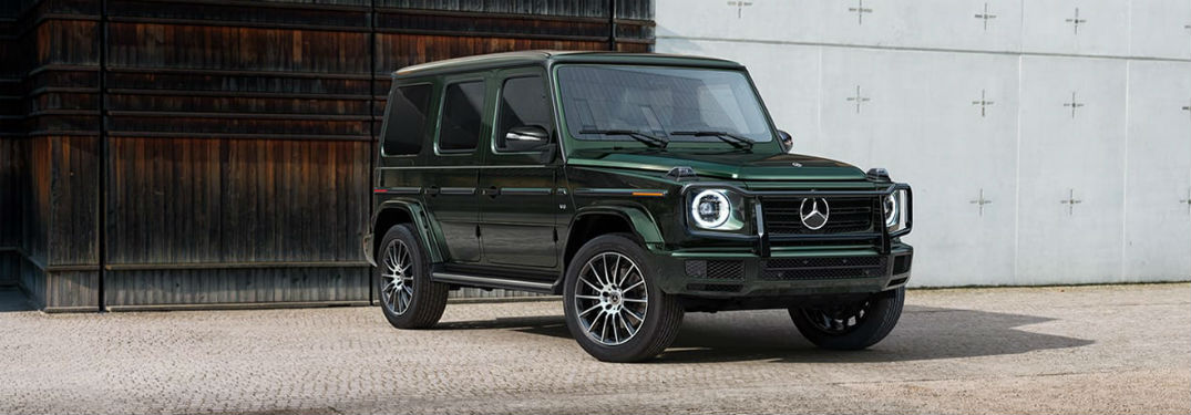 2020 MB G Class SUV green exterior front fascia passenger side parked