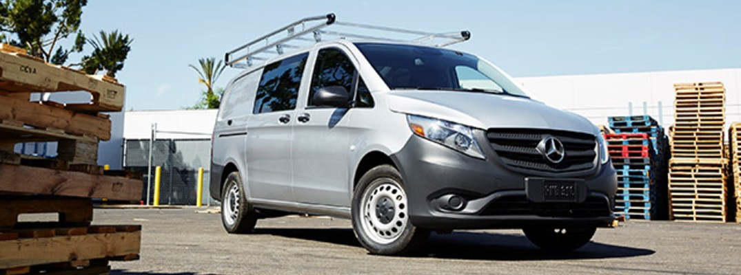 2020 Mercedes-Benz Metris Cargo Van in lot with stacks of pallets