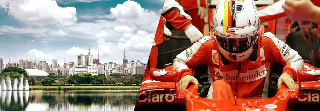 promotional image of Brazilian Grand Prix with the city of Sao Paolo on the left and a racer getting into a car on the right
