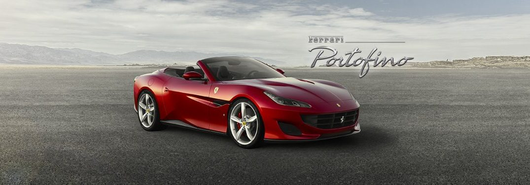 "the 2017 Ferrari Portofino with a the top down in a desert with ""Ferrari Portofino"" written on the right side"