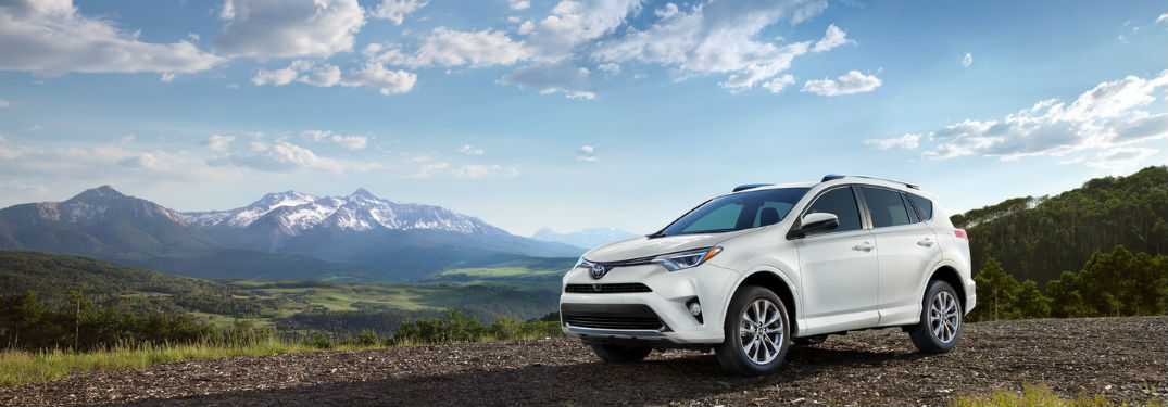 2018 Toyota RAV4 Cargo Volume and passenger space emphasized in image of rav4 on mountains near lexington ma