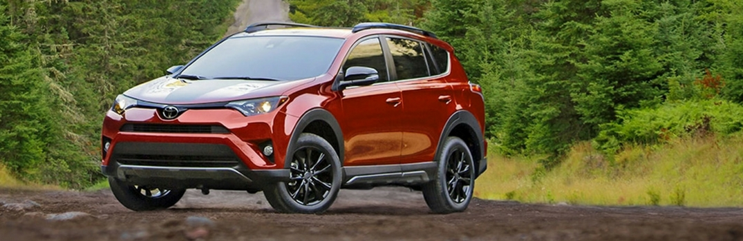 2018 Toyota RAV4 Adventure parked on the road in the woods.