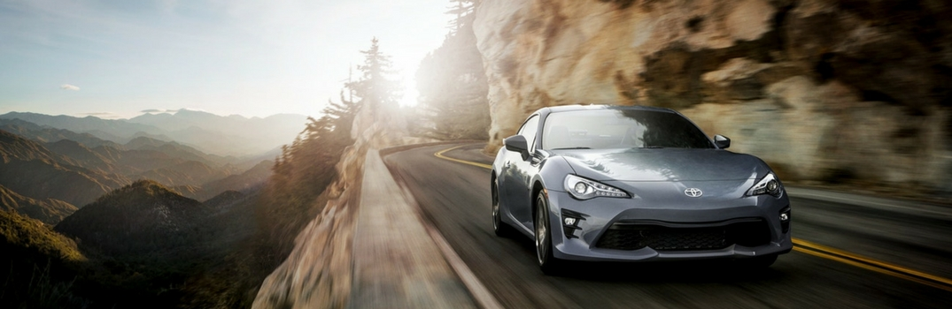 2018 Toyota 86 driving on the road.