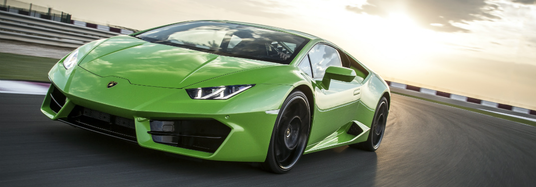 Lamborghini Huracan Green on the track sunset
